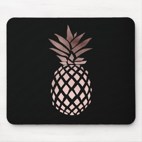 elegant clear faux rose gold tropical pineapple mouse mat