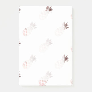 elegant clear faux rose gold tropical pineapple post-it notes