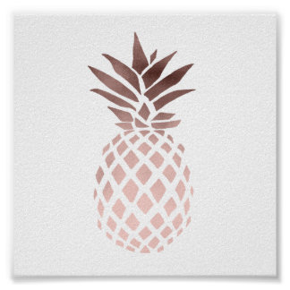 elegant clear faux rose gold tropical pineapple poster