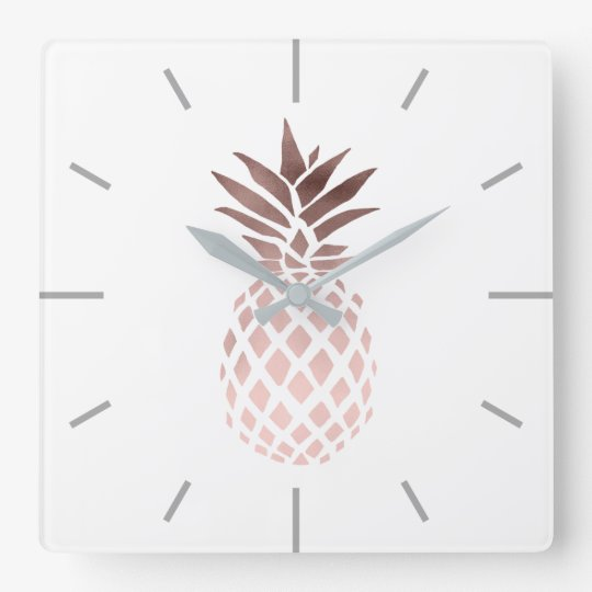 elegant clear faux rose gold tropical pineapple square