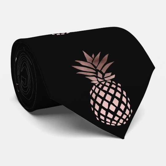 elegant clear faux rose gold tropical pineapple tie