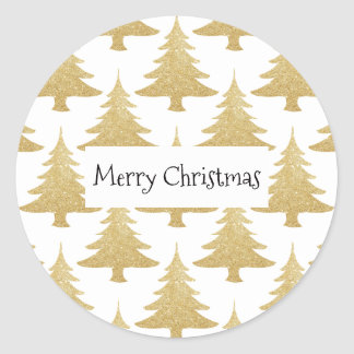 elegant clear gold glitter Christmas tree pattern Classic Round Sticker