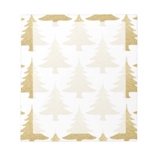 elegant clear gold glitter Christmas tree pattern Notepad