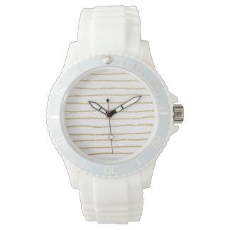 elegant clear gold stripes pattern wristwatch