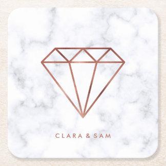 elegant clear rose gold foil diamond white marble square paper coaster