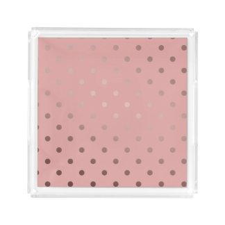 elegant, clear rose gold foil polka dots pattern acrylic tray
