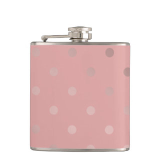 elegant, clear rose gold foil polka dots pattern flasks