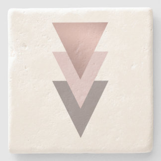 elegant clear rose gold geometric triangles stone coaster