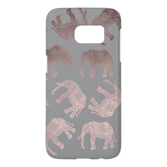 elegant clear rose gold tribal elephant pattern