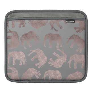 elegant clear rose gold tribal elephant pattern iPad sleeve