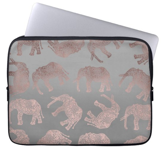 elegant clear rose gold tribal elephant pattern laptop