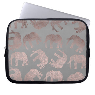 elegant clear rose gold tribal elephant pattern laptop sleeve