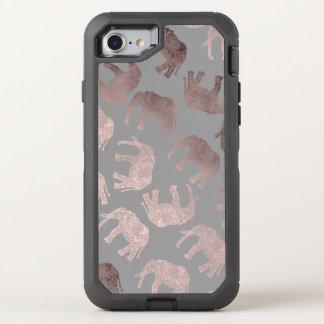 elegant clear rose gold tribal elephant pattern OtterBox defender iPhone 8/7 case