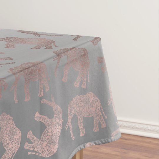 elegant clear rose gold tribal elephant pattern tablecloth