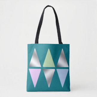 elegant clear silver triangles/diamons tote bag