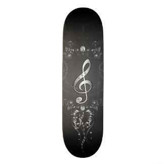 Elegant  clef with floral elements skateboards