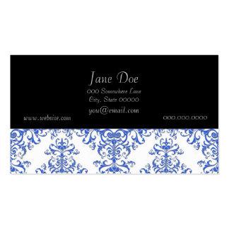Elegant Cobalt Blue and White Floral Style Damask Business Cards