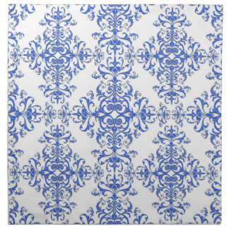 Elegant Cobalt Blue and White Floral Style Damask Napkin