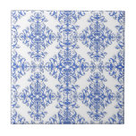 Elegant Cobalt Blue and White Floral Style Damask Small Square Tile
