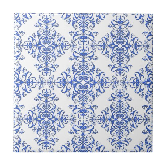 Elegant Cobalt Blue and White Floral Style Damask