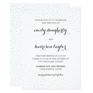 Elegant Cocoa and White with Dots Wedding Card