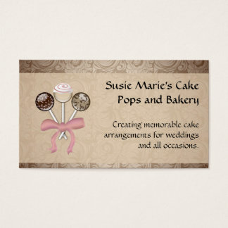 Elegant Cocoa Damask Cake Pop Business Card