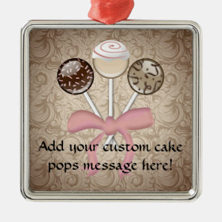 Elegant Cocoa Damask Cake Pop Christmas Ornament