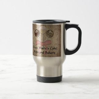 Elegant Cocoa Damask Cake Pop Custom Travel Mug