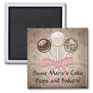 Elegant Cocoa Damask Cake Pop Magnet