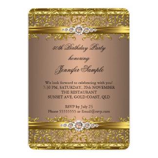 Elegant Coffee Brown Gold Damask Diamond Birthday 13 Cm X 18 Cm Invitation Card