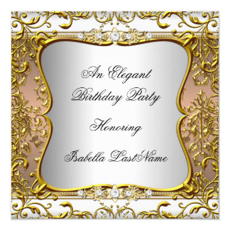 Elegant Coffee Damask Silver Gold Birthday Party 5.25x5.25 Square Paper Invitation Card