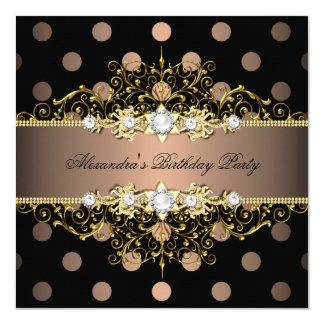 Elegant Coffee Gold Black Polka Dot Birthday Party 13 Cm X 13 Cm Square Invitation Card
