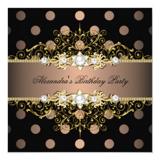 Elegant Coffee Gold Black Polka Dot Birthday Party Card