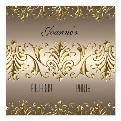 Elegant Coffee Gold Jewel Birthday Invitation Personalized Announcements