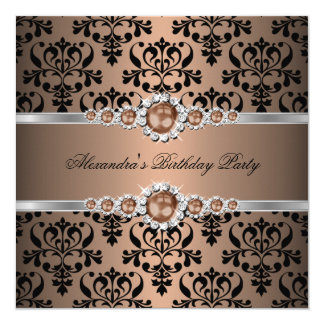 Elegant Coffee Pearl Black Damask Birthday Party Personalized Announcement Cards