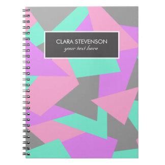 elegant color block colorful geometric pattern notebook