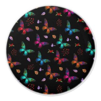 Elegant Colorful Butterflies on Black Ceramic Knob