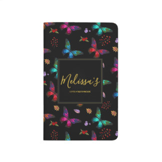 Elegant Colorful Butterflies on Black Custom Journal