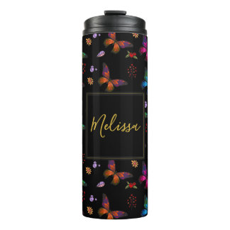 Elegant Colorful Butterflies on Black Custom Thermal Tumbler