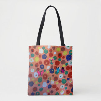 Elegant colorful dots and butterflies  Tote bag