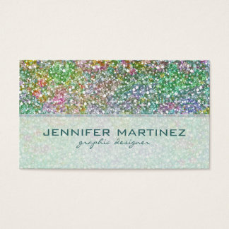 Elegant Colorful Glitter Texture-Green Overtones Business Card