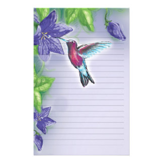elegant colorful hummingbird and purple flowers stationery design