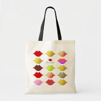 elegant colorful lips tote bag . color mouths
