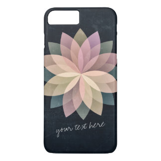 Elegant Colorful Lotus Floral Mandala Black Grunge iPhone 8 Plus/7 Plus Case