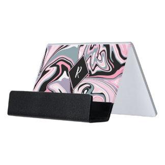 Elegant colorful marble pink purple black blue desk business card holder