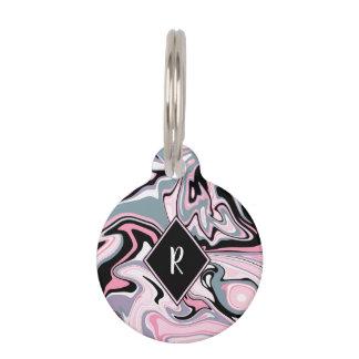 Elegant colorful marble pink purple black blue pet ID tag