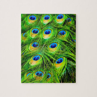 Elegant Colorful Peacock Feathers Custom Jigsaw Puzzle