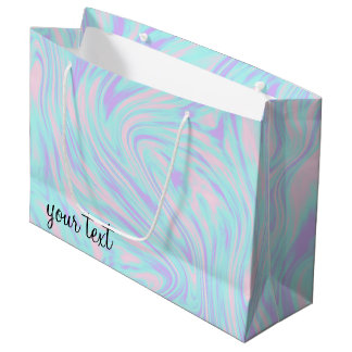 elegant colorful pink blue purple white marble large gift bag