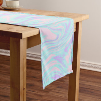 elegant colorful pink blue purple white marble short table runner