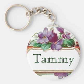 Elegant Colorful Vintage Violet Name Keychain